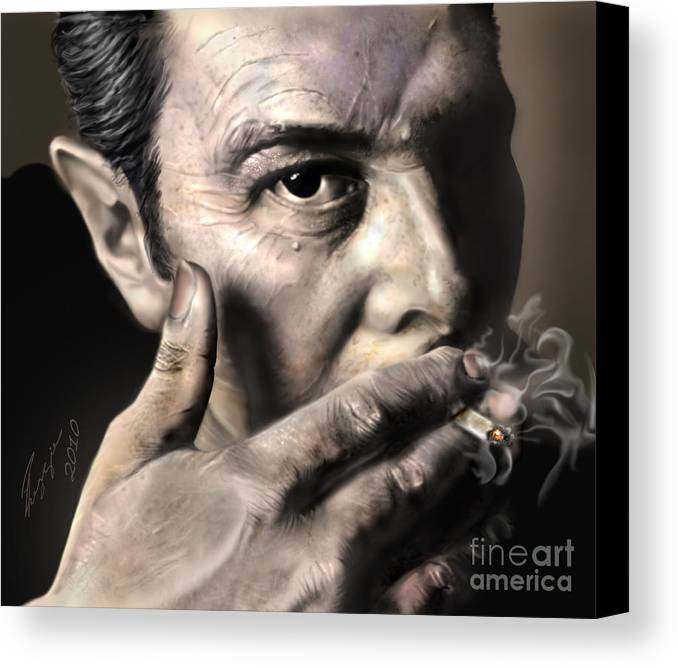 The Clash Canvas Print featuring the painting Joe Strummer-burning Lights by Reggie Duffie