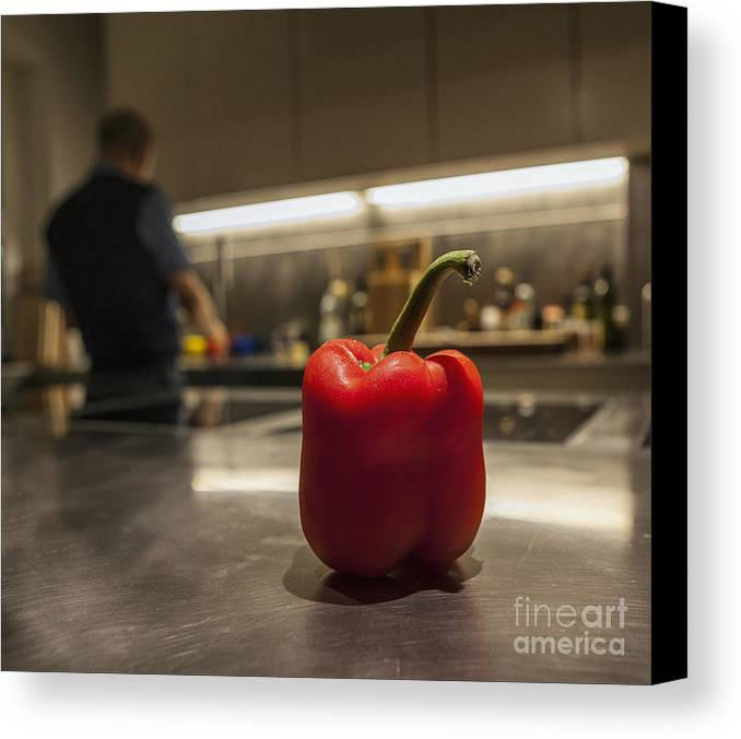 Red Canvas Print featuring the photograph Red Pepper Awaits The Chop by Eden Breitz