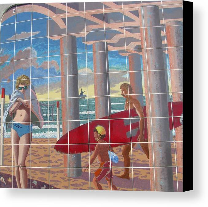 Beach Scene Canvas Print featuring the photograph Surfs Up by Susan Ince