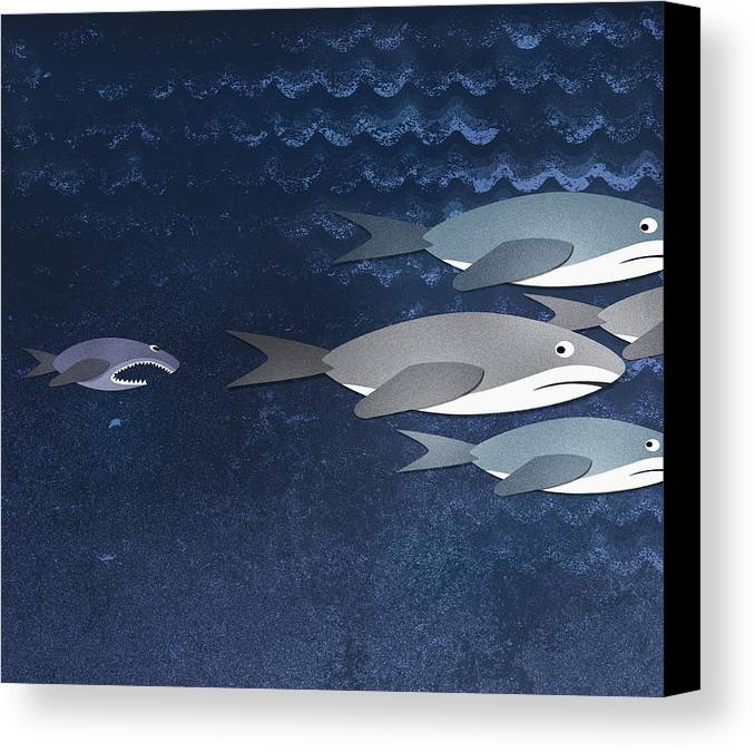 Horizontal Canvas Print featuring the digital art A Small Fish Chasing Three Sharks by Jutta Kuss
