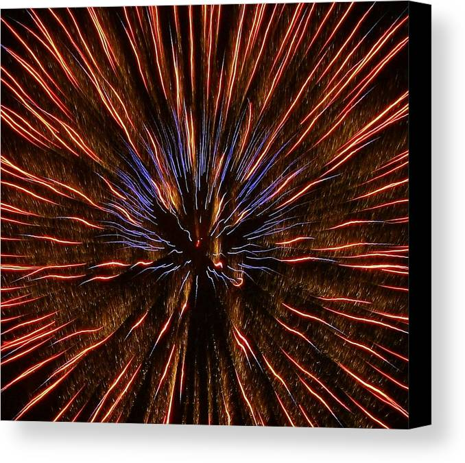 Fireworks Canvas Print featuring the photograph Fire In The Sky by Myrna Bradshaw
