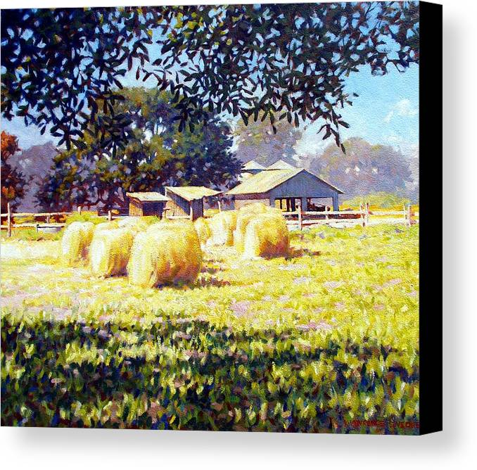 Hay Canvas Print featuring the painting Jenny Rays Farm by Kevin Lawrence Leveque