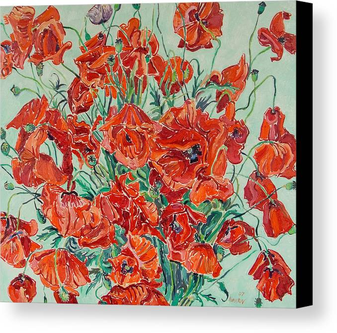 Bouquet Canvas Print featuring the painting Bouquet Of Red Poppies With Soft-blue Background by Vitali Komarov