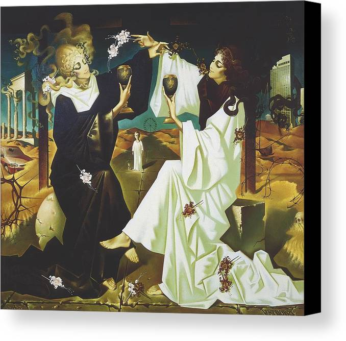 Figures Canvas Print featuring the painting Good And Evil by Andrej Vystropov