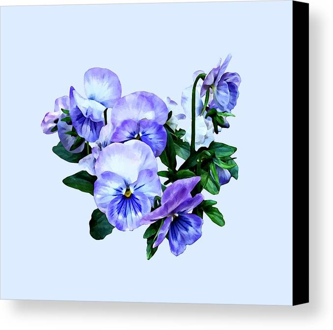 Pansy Canvas Print featuring the photograph Group Of Purple Pansies And Leaves by Susan Savad