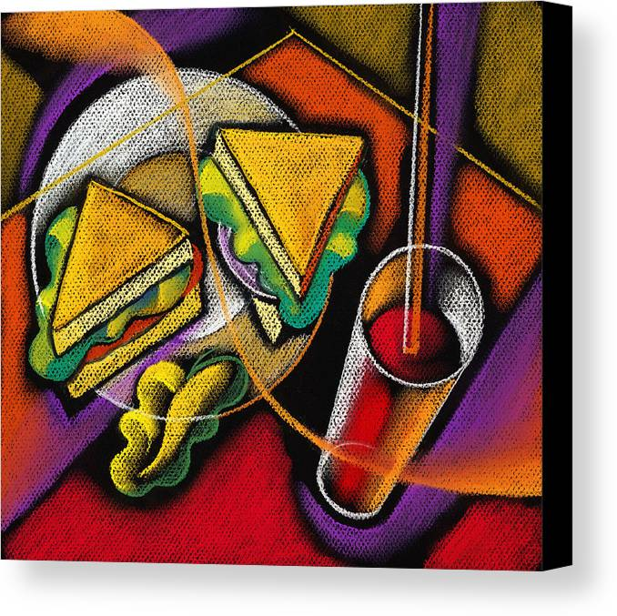 Bowl Close Up Color Image Concept Convenience Dinner Food And Drink Fork Grape Hamburger Illustration Illustration And Painting Lunch Macaroni Macaroni And Cheese Nobody Sandwich Square Image Still Life Variety Assortment Bread Close-up Color Colour Cutlery Drawing Food Fruit Ground Beef Meal Mince Pasta Square Still-life Abstract Painting Decorative Art Canvas Print featuring the painting Lunch by Leon Zernitsky