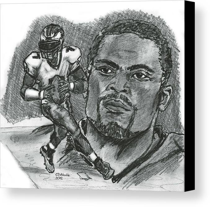 Nfl Canvas Print featuring the drawing Michael Vick by Chris DelVecchio