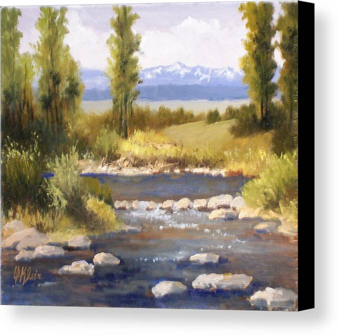 Landscape Canvas Print featuring the painting Moyie River by Dalas Klein
