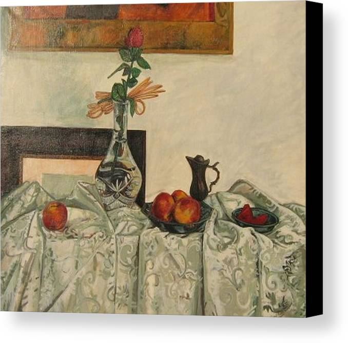 Still Life Canvas Print featuring the painting My Rose by Netka Dimoska