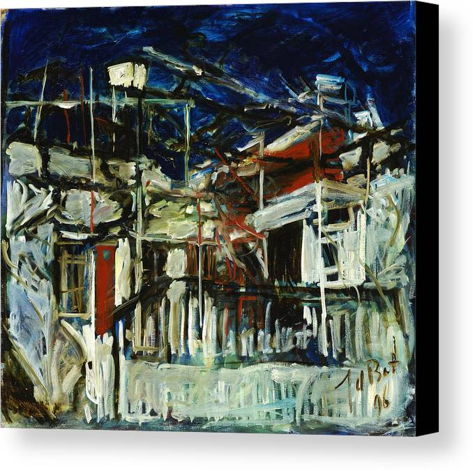 Cyprus House Night Darkness Blue White Red Village Canvas Print featuring the painting Pissouri Village House by Joan De Bot