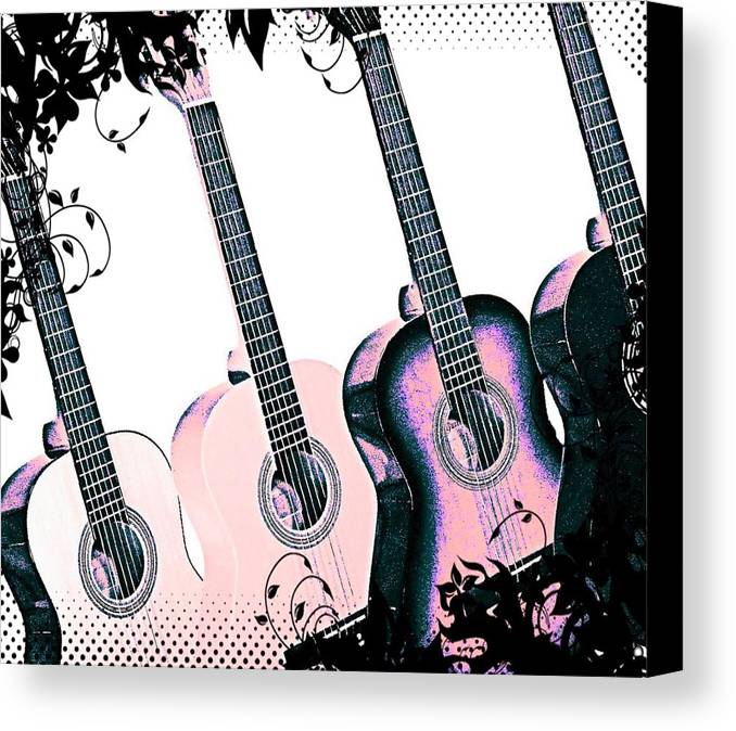 Guitars Canvas Print featuring the digital art Shades Of Pink by April Cook