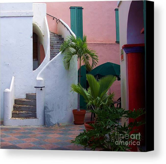 Architecture Canvas Print featuring the photograph St. Thomas Courtyard by Debbi Granruth