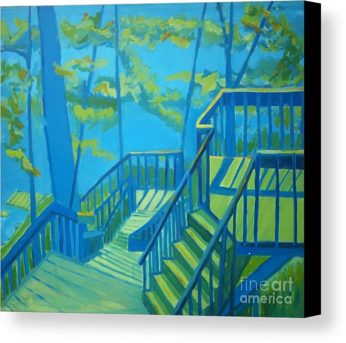 New Hampshire Canvas Print featuring the painting Suncook Stairwell by Debra Bretton Robinson