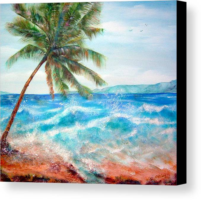 Ocean Canvas Print featuring the painting Sunset Beach Hawaii by Cheryl Ehlers