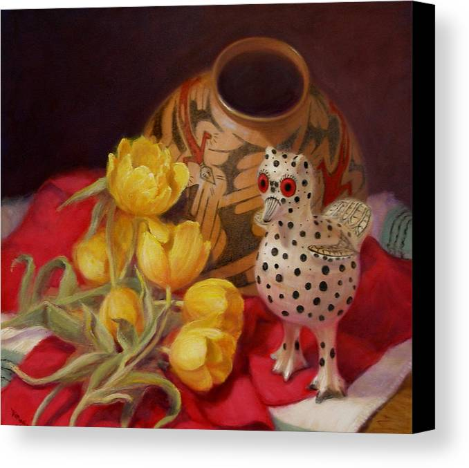 Realism Canvas Print featuring the painting Tulips And Pottery by Donelli DiMaria