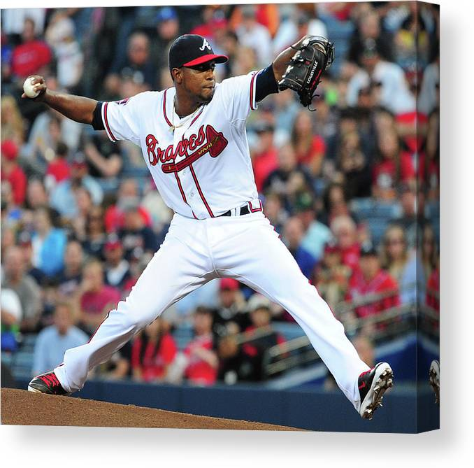 Atlanta Canvas Print featuring the photograph Washington Nationals V Atlanta Braves 4 by Scott Cunningham