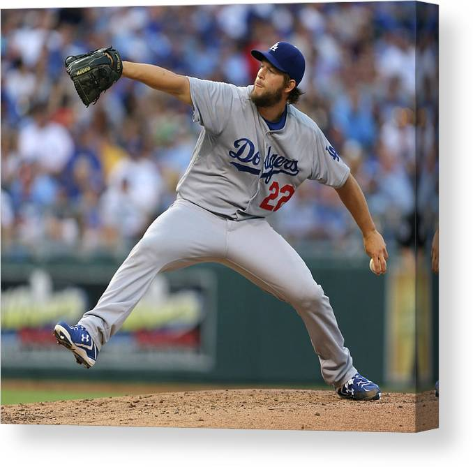 People Canvas Print featuring the photograph Los Angeles Dodgers V Kansas City Royals 7 by Ed Zurga