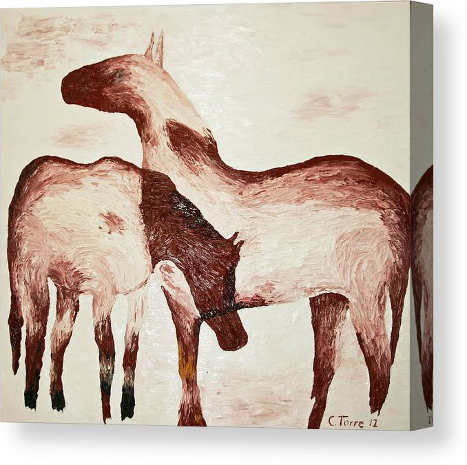 Horses Canvas Print featuring the painting Standing In The Snow by Chris Torre