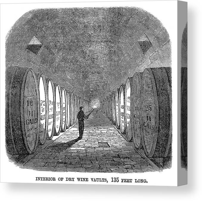 1866 Canvas Print featuring the painting Winemaking Vault, 1866 by Granger