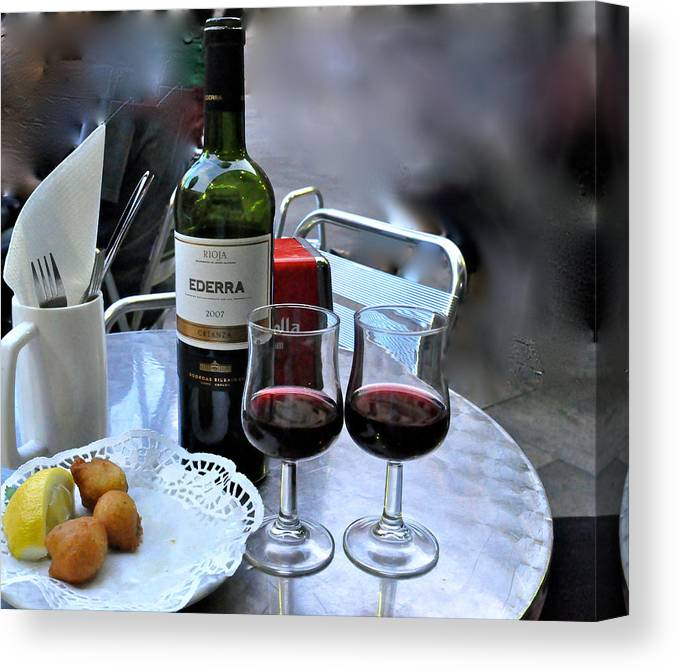 Spain Canvas Print featuring the photograph Red Wine In Barcellona by Suzanne Smith
