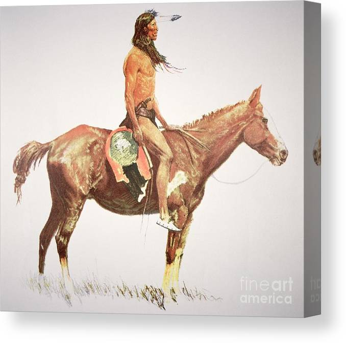 A Cheyenne Brave Canvas Print featuring the painting A Cheyenne Brave by Frederic Remington