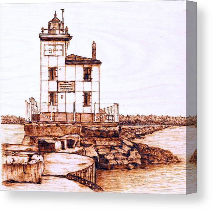 Lighthouse Canvas Print featuring the pyrography Fair Port Harbor by Danette Smith