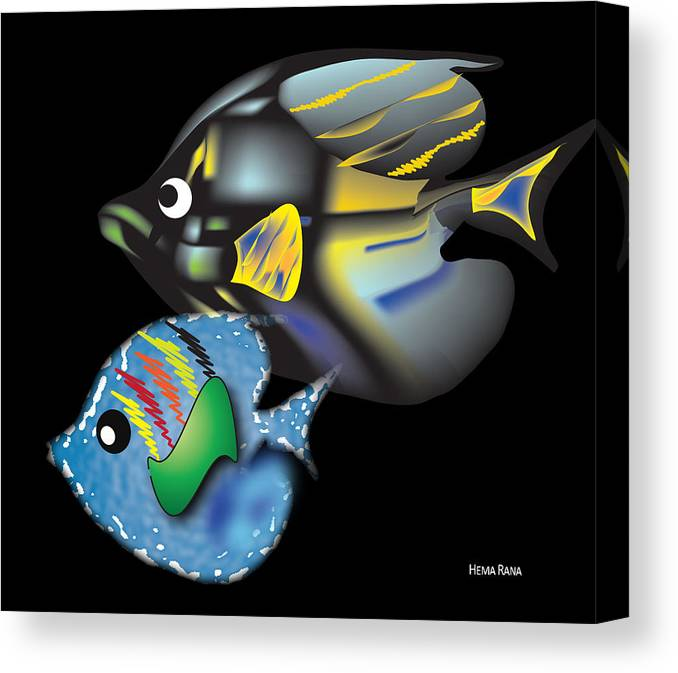 Fishes Canvas Print featuring the digital art Fish Illustration by Hema Rana
