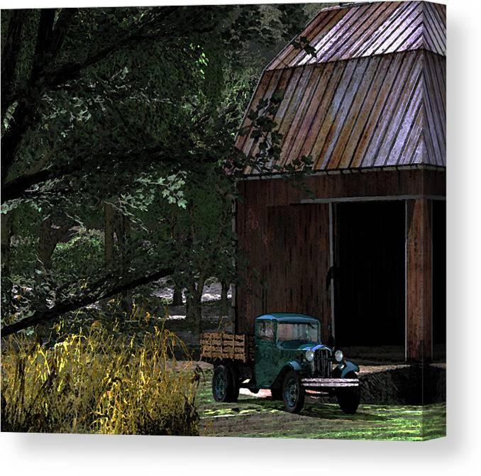 1930 Ford Country Barn Moonshine Waltonsmountain Canvas Print featuring the digital art Jim Bob's Ford by Steven Palmer