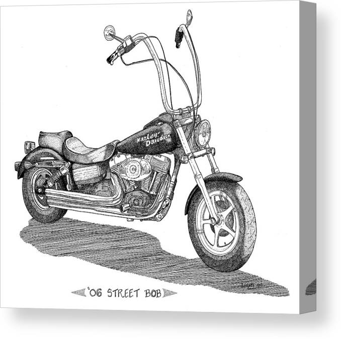 Pen And Ink Motorcycle Portrait Canvas Print featuring the drawing Juan's Harley by Mike Light