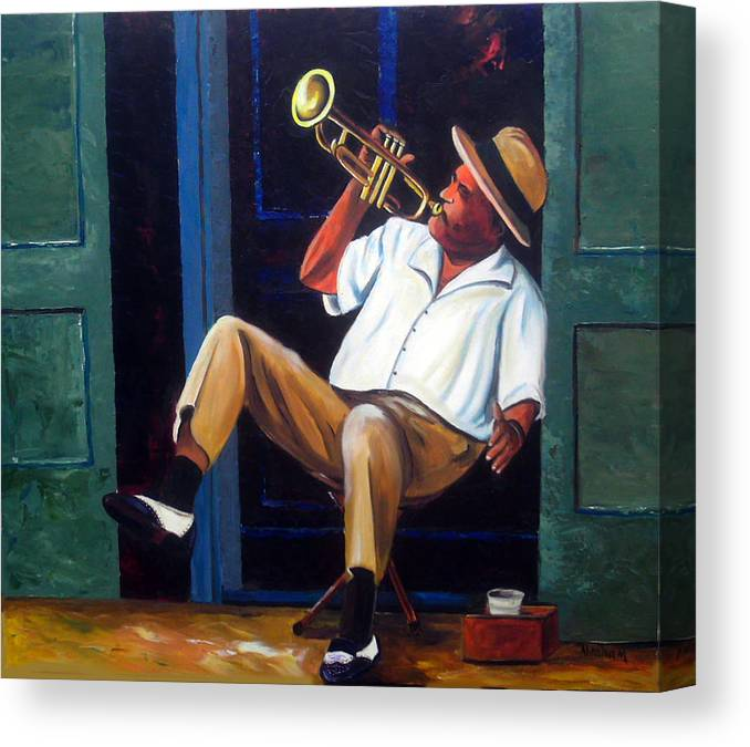Cuba Art Canvas Print featuring the painting My Trumpet by Jose Manuel Abraham