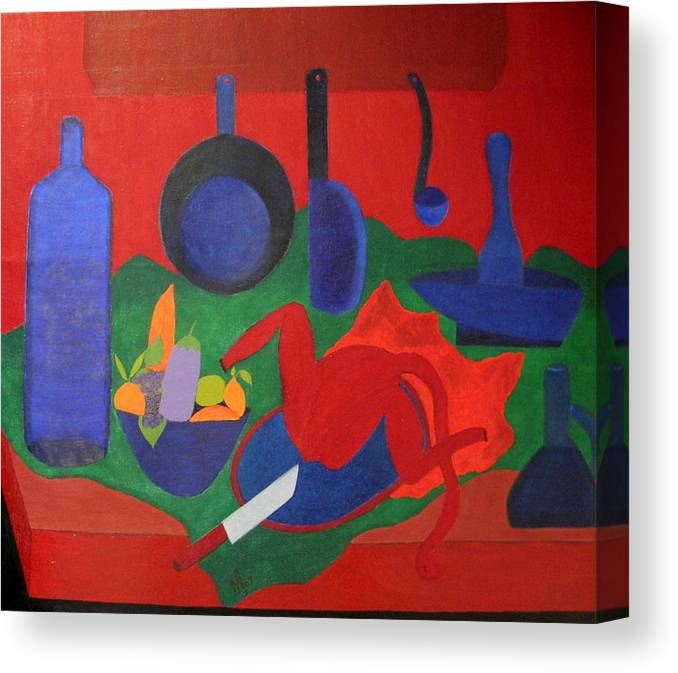 Still Life Canvas Print featuring the painting No. 319 by Vijayan Kannampilly