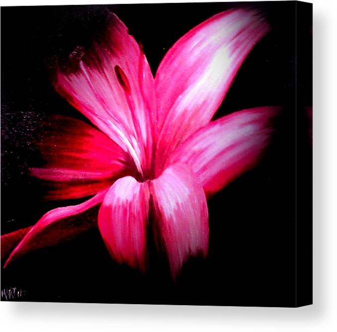 Pink Canvas Print featuring the painting Pink Lilly by Martin Williams