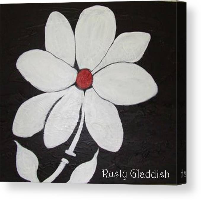 Contemporay Canvas Print featuring the painting White Flower by Rusty Gladdish