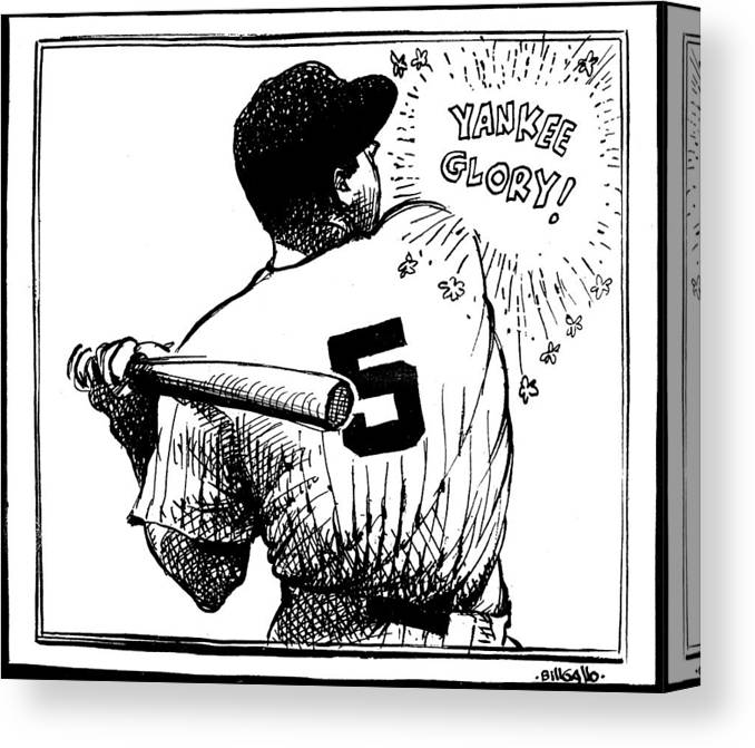 People Canvas Print featuring the photograph Cartoon New York Yankees Joe Dimaggio 1 by New York Daily News Archive