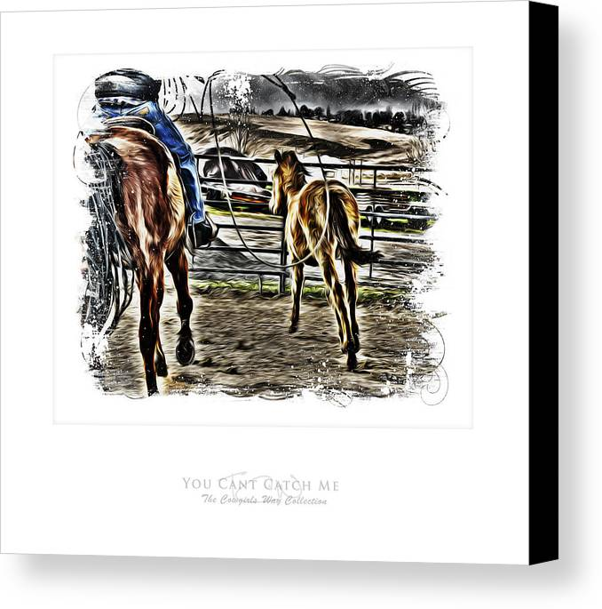Western Canvas Print featuring the photograph You Cant Catch Me by Denise Teague