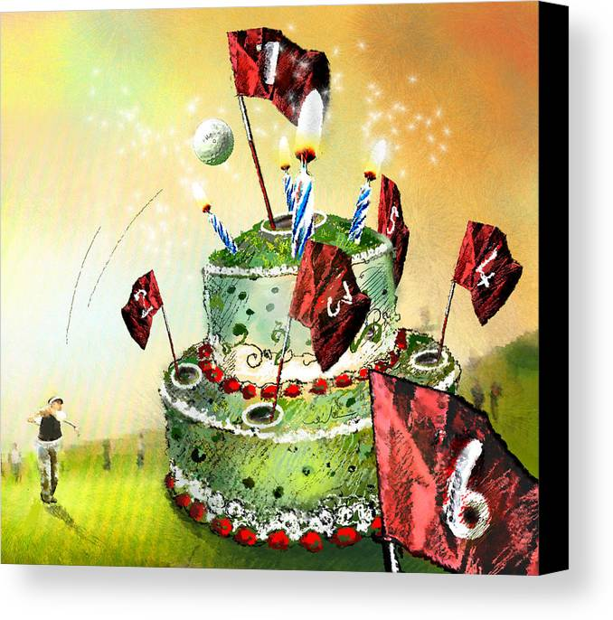 Fun Canvas Print featuring the painting A Golfers Birthday Cake by Miki De Goodaboom