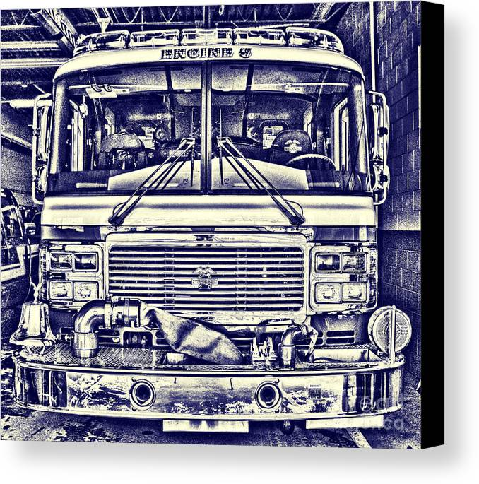 Blueprint Canvas Print featuring the photograph Engine 5 by Jim Lepard