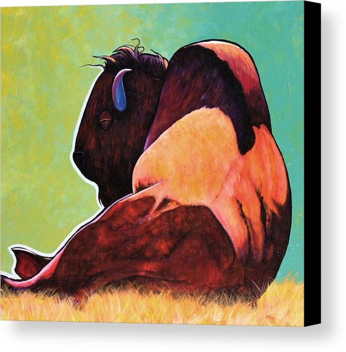 Wildlife Canvas Print featuring the painting On Empty Bison by Joe Triano