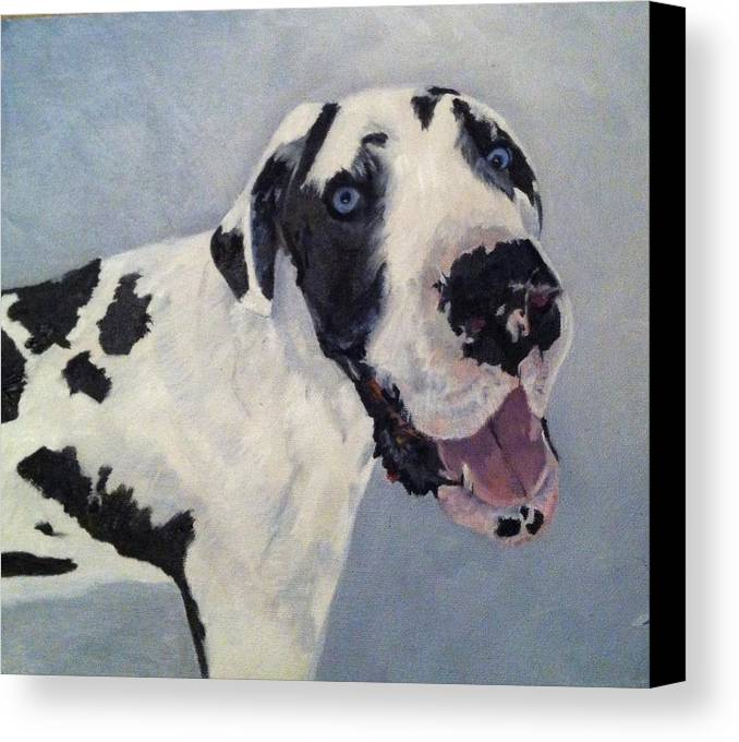 Dogs Canvas Print featuring the painting Portrait Of Moose by Teresa Howell