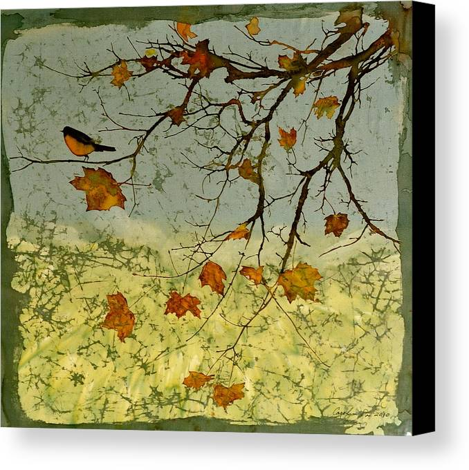 Robins Canvas Print featuring the tapestry - textile Robin In Maple by Carolyn Doe