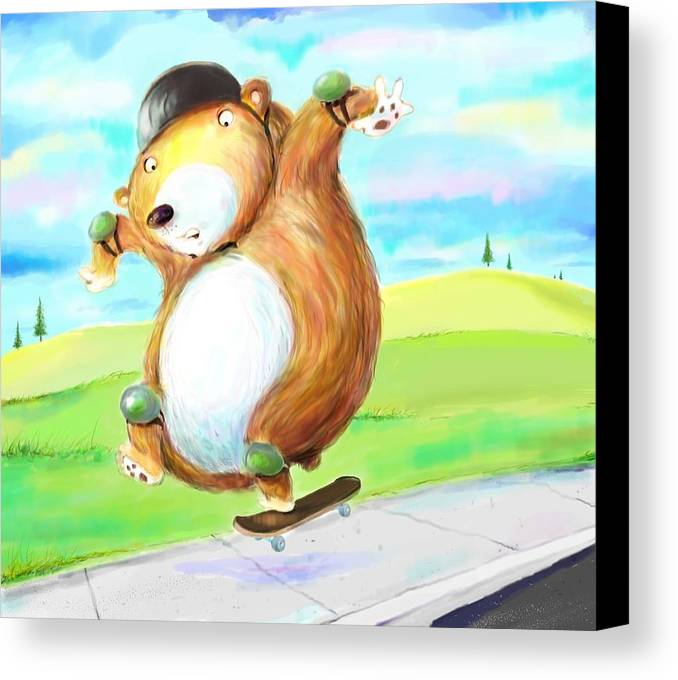 Skateboard Canvas Print featuring the digital art Skateboarding Bear by Scott Nelson