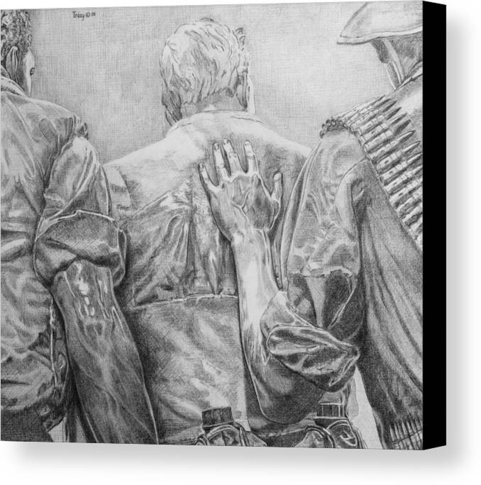 Three Soldiers Canvas Print featuring the drawing Three Soldiers by Robert Tracy