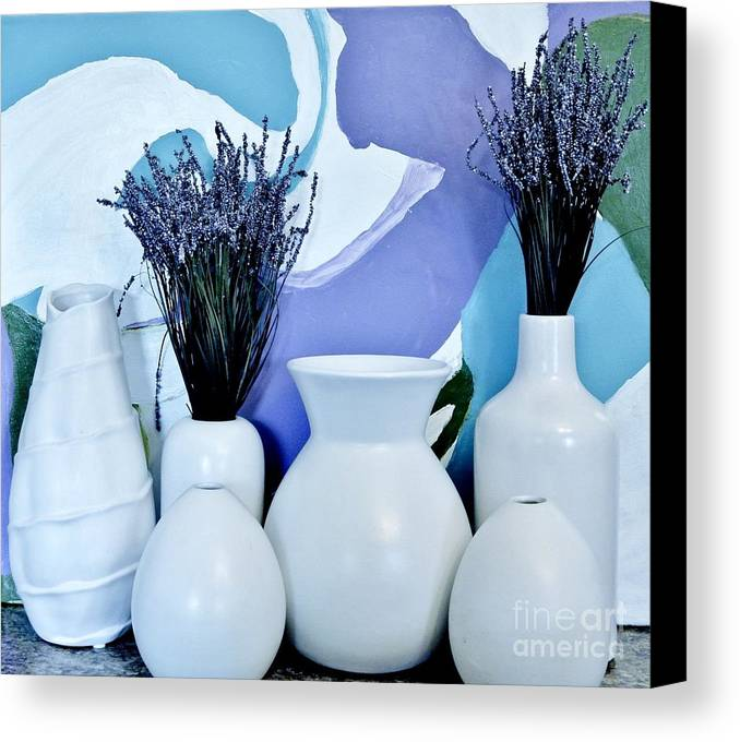 Photo Canvas Print featuring the photograph White Vases by Marsha Heiken
