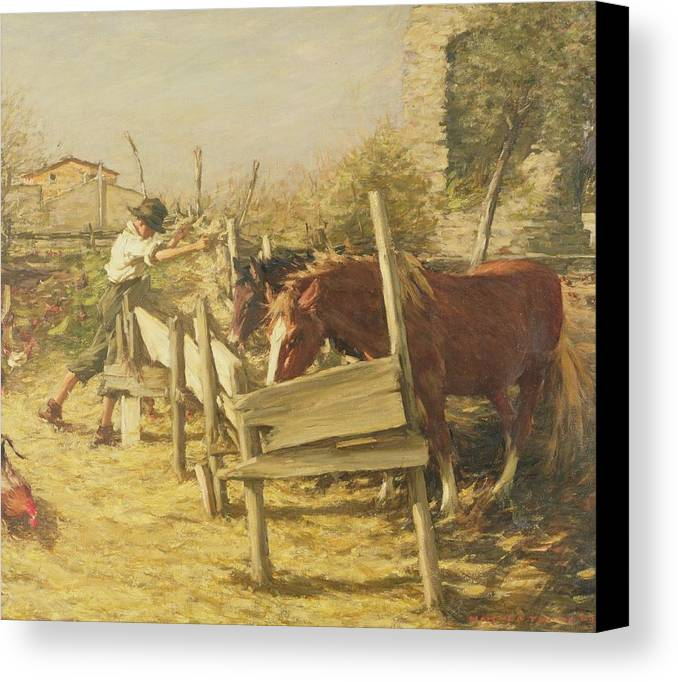 The Appian Way Canvas Print featuring the painting The Appian Way by Henry Herbert La Thangue