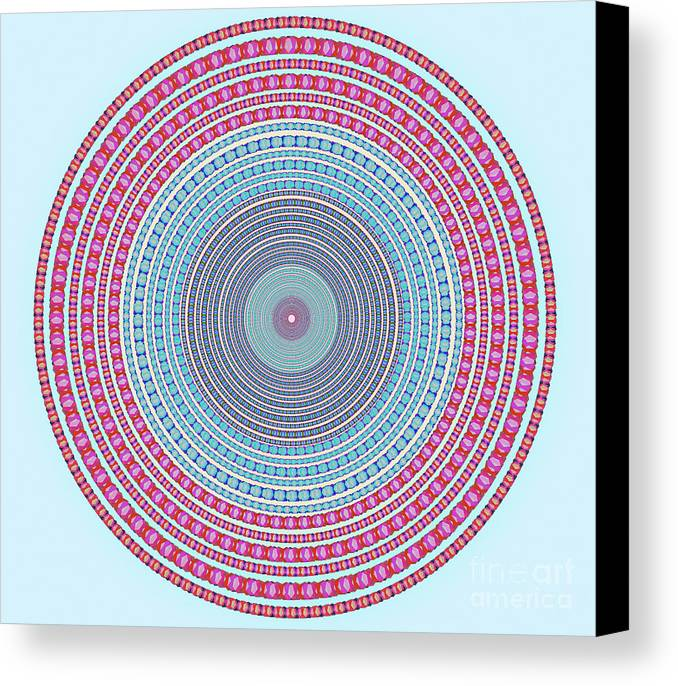 Abstract Canvas Print featuring the digital art Vintage Color Circle by Atiketta Sangasaeng