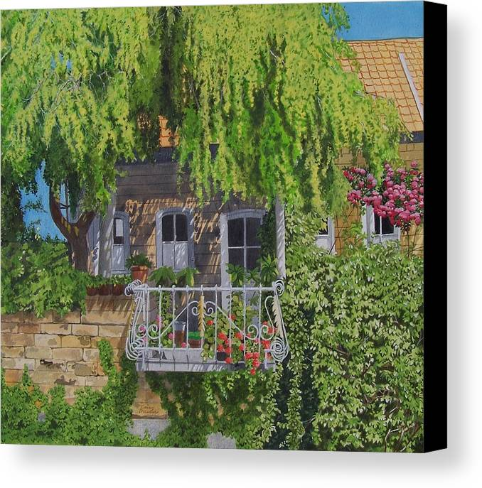 Rural Canvas Print featuring the mixed media Balcony With Flowers by Constance Drescher