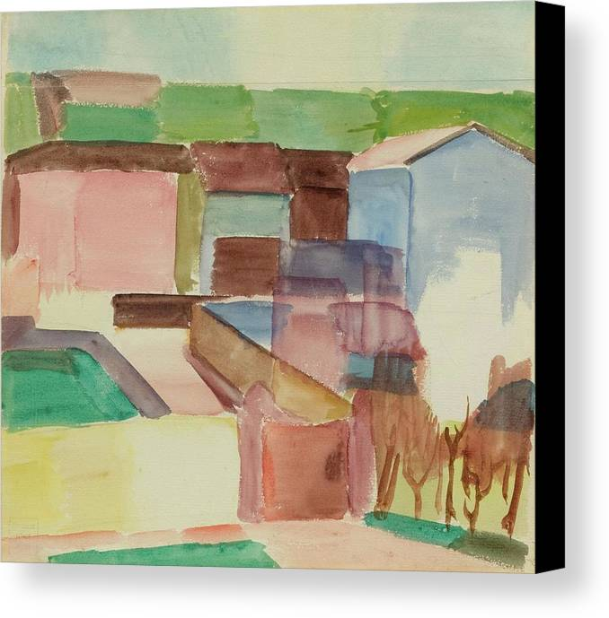 M�ller Canvas Print featuring the painting Houses by Albert