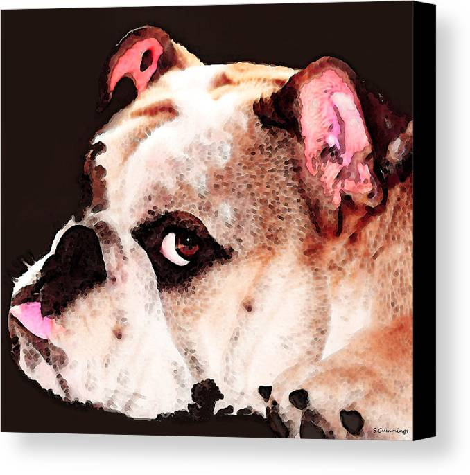 Dog Canvas Print featuring the painting Bulldog Art - Let's Play by Sharon Cummings