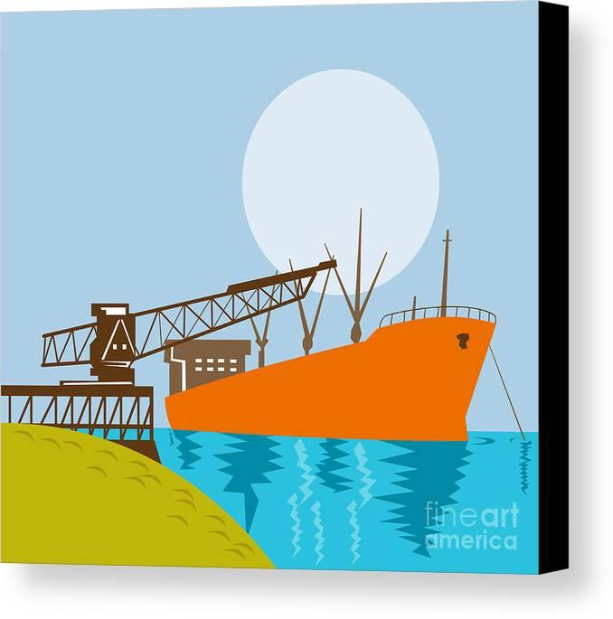 Illustration Canvas Print featuring the digital art Crane Loading A Ship by Aloysius Patrimonio