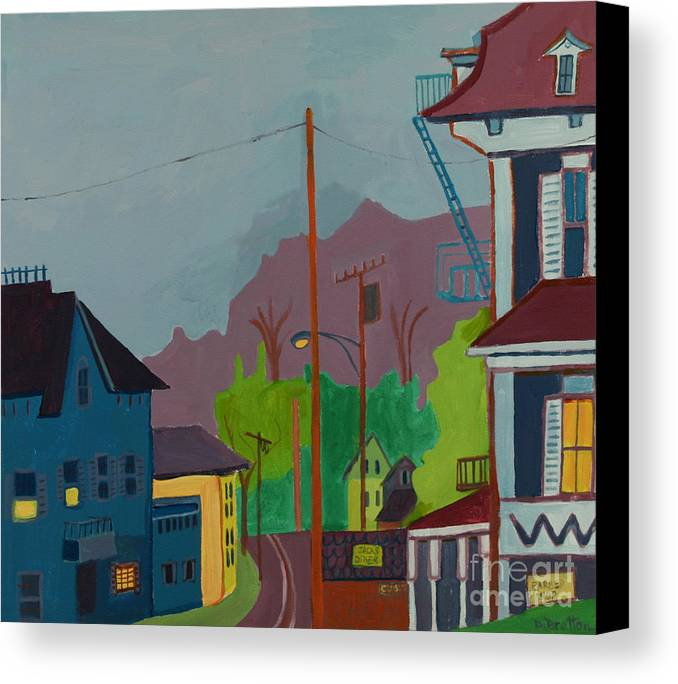 Town Canvas Print featuring the painting Evening In Town Chelmsford Ma by Debra Bretton Robinson